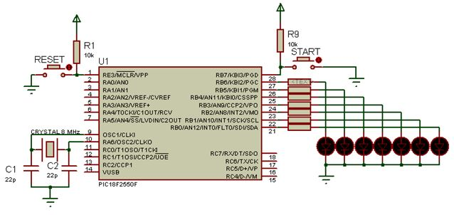 مشاريع الميكروكونترولر PIC18F2550 مع الدايودات المشعة للضوء والمترجم ميكروسى برو : 319