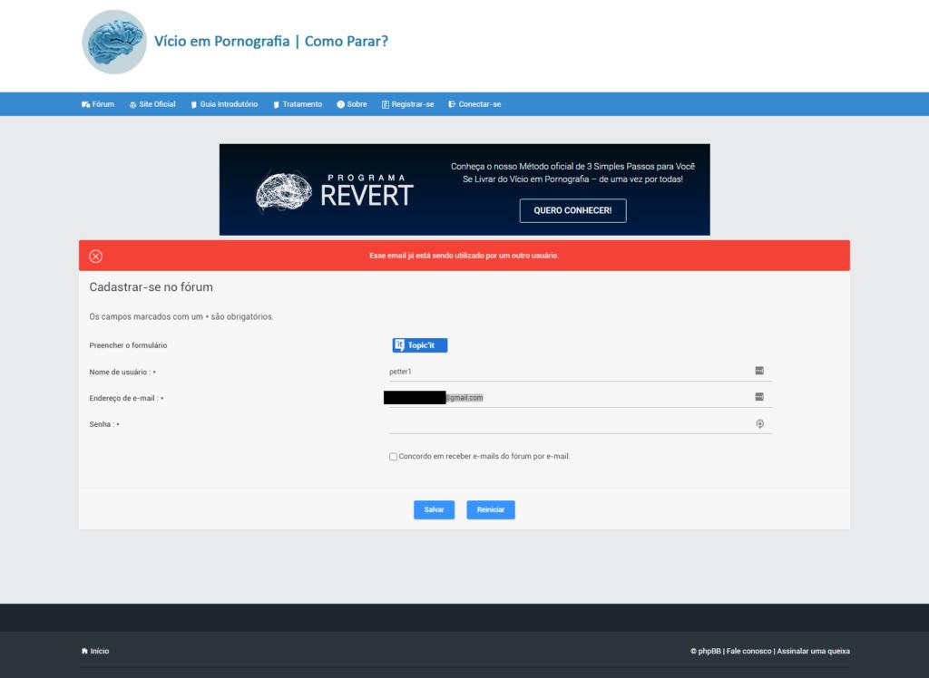 Usuário não aparece no banco de dados Erro_210