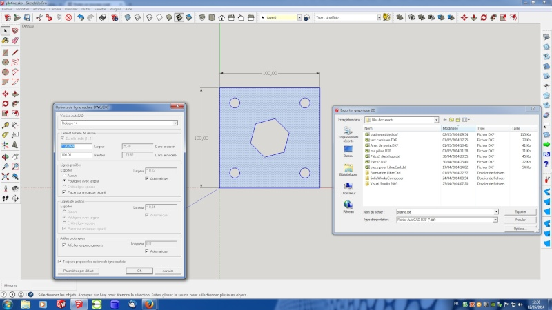 Sketchup pro 2014 et ses exportations DXF Ecran_10