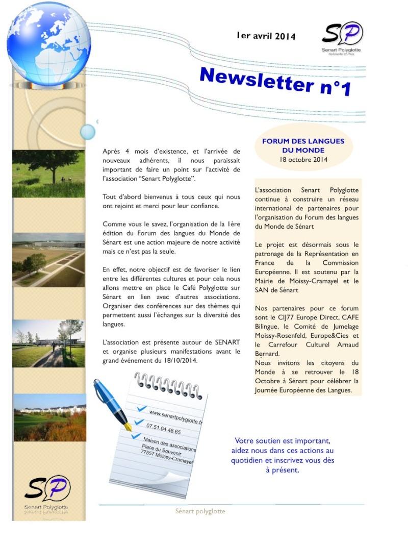 1ère Newsletter de Sénart Polyglotte - Avril 2014 Newsle14