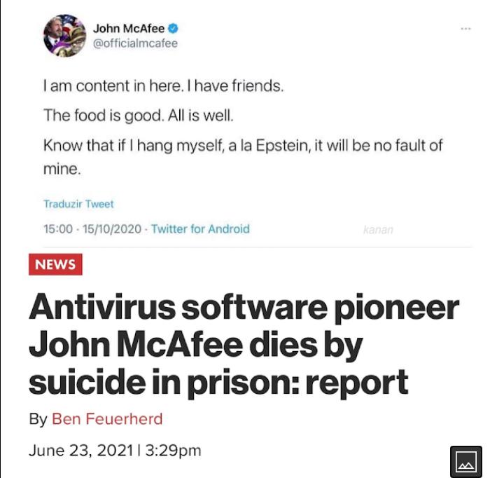 John McAfee pronađen je mrtav u svojoj ćeliji u Španjolskoj 20210611
