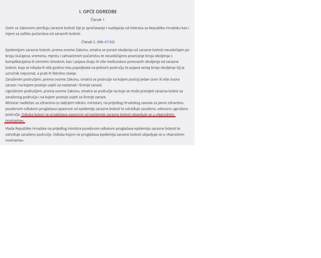 RH službeno nije proglasila epidemiju... Zakon10