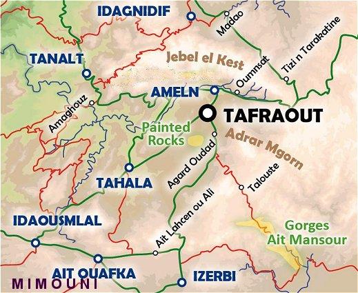 Circuit tafraoute oasis Amtoudi tarsout Amanouz  Map tafraoute Mimoun14