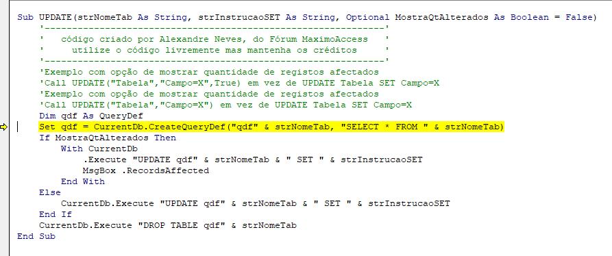 """[Resolvido]CurrentDb.Execute """"UPDATE"""" erro 3340 consulta corrompida Erro211"""