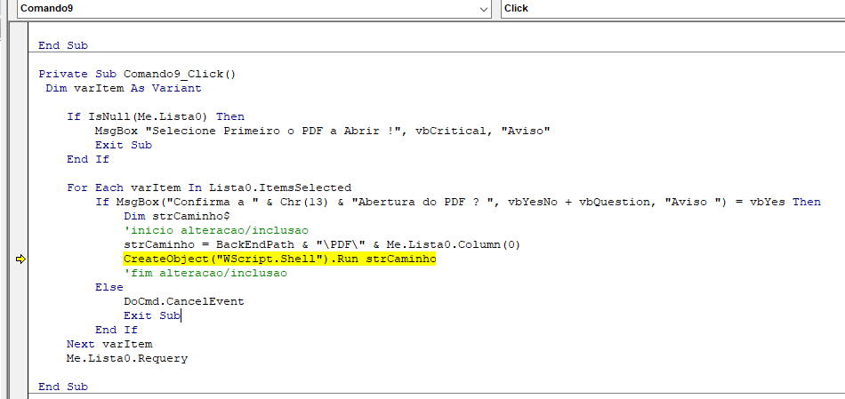 Notificação ao abrir arquivo Sem_t106