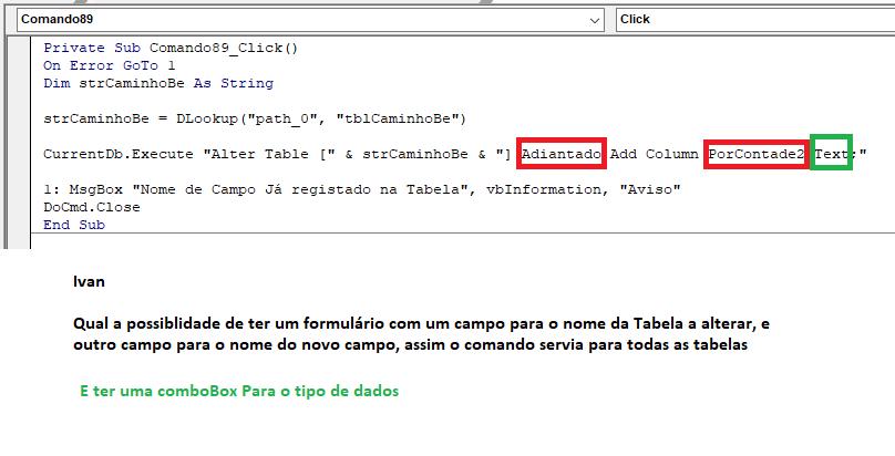 [Resolvido]Adicionar um campo em tabela via VBA Sem_tz55