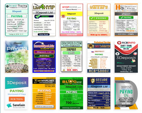[NUEVA] 3DEPOSIT - 3deposit.com - Refback 80% - 1.1% X 120 DIAS - Min 50$ Hyips12