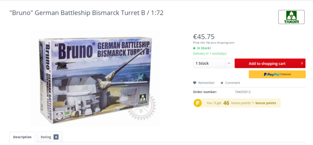 Bismarck tourelle Bruno au 1x72 Captur29
