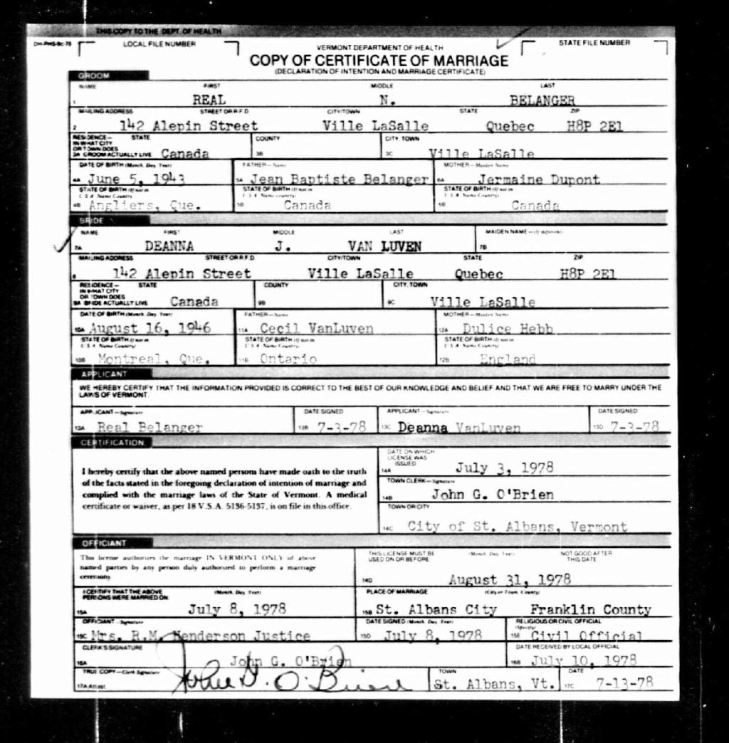BELANGER REAL - VAN LUVEN DEANNA  - MARIAGE USA Certif11