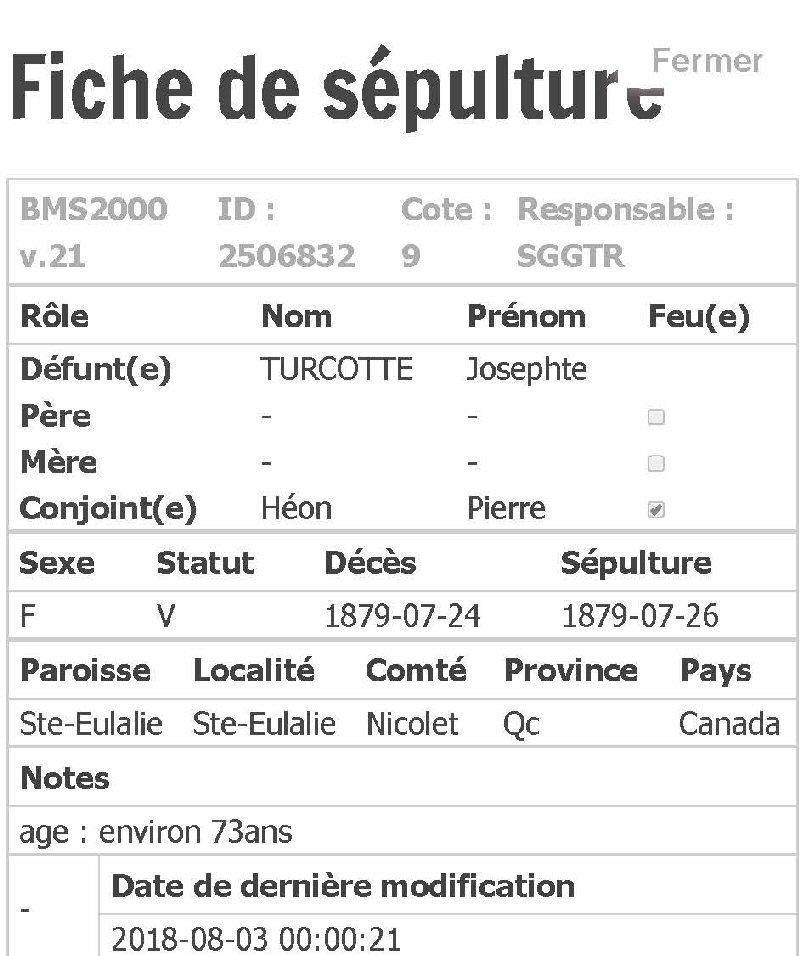 Josephte Turcotte décédée 24/26/07/1879 Ste-Eulalie Fiche_23