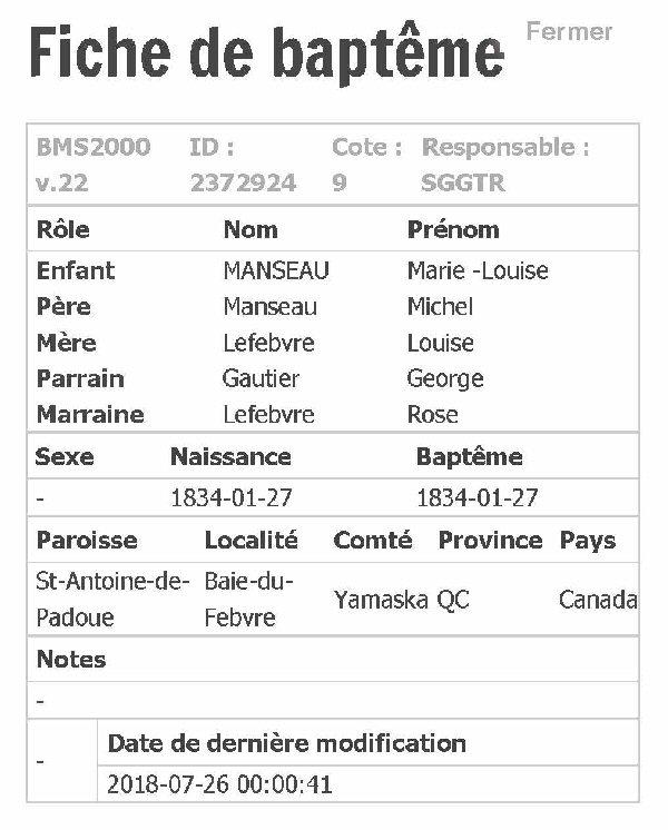 MANSEAU Aurelie ou Henrelie nee le 22 mars 1854 Fiche_56