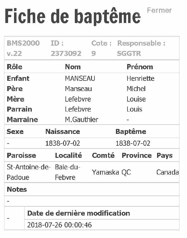 MANSEAU Aurelie ou Henrelie nee le 22 mars 1854 Fiche_59