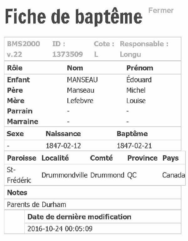 MANSEAU Aurelie ou Henrelie nee le 22 mars 1854 Fiche_61