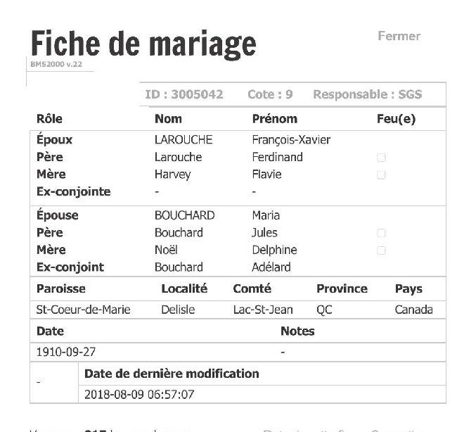 LAROUCHE Fernand & LAPOINTE Christiane - Date de Mariage Fiche_79