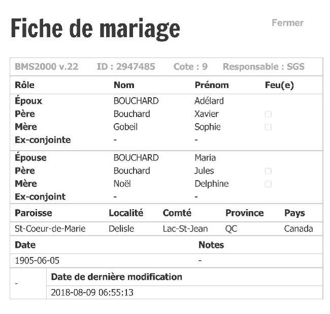 LAROUCHE Fernand & LAPOINTE Christiane - Date de Mariage Fiche_80