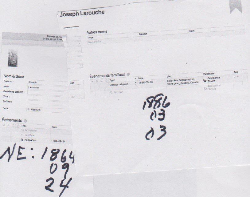 LAROUCHE JOSEPH & SIMARD GEORGIANNA (2 COUPLES MÊME NOMS) Comment identifié a qui appartient les enfants de ces deux couples Larouc10
