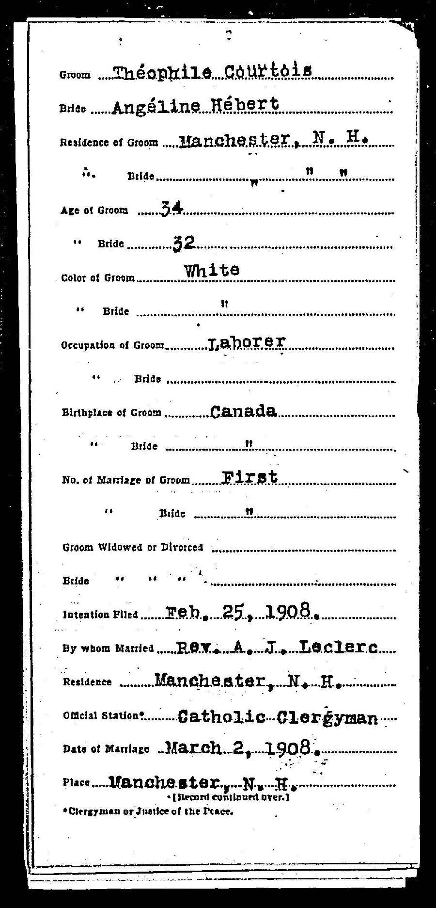 Joseph Hébert et d'Emma Roy  - Mariage aux U.S.A? Licenc10