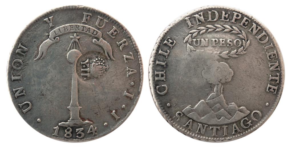 1 Peso de Chile - Resello de Isabel II, Manila, 1834-37 1_peso11