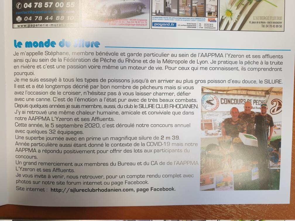 Journal AAPPMA Yzeron ,article sur le 20 concours du silure  club rhodanien  Resize10
