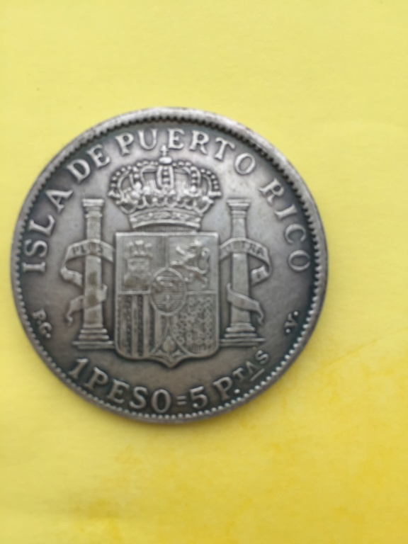 1 peso. 5 pesetas. 1895. Puerto Rico  4c68fd10