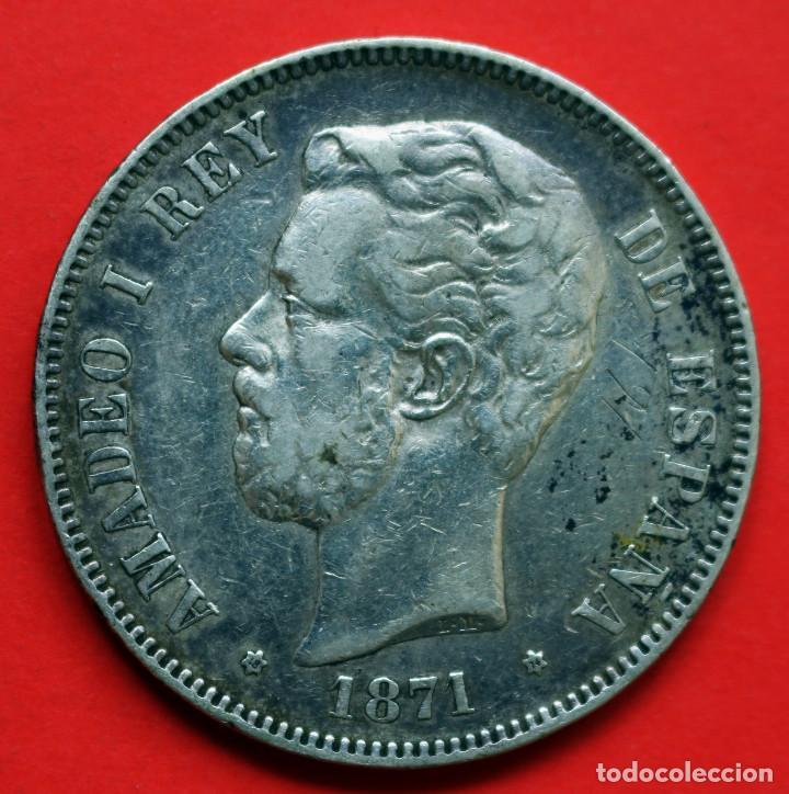 5 pesetas de 1871 (*18-74). Amadeo I D3c8ad10