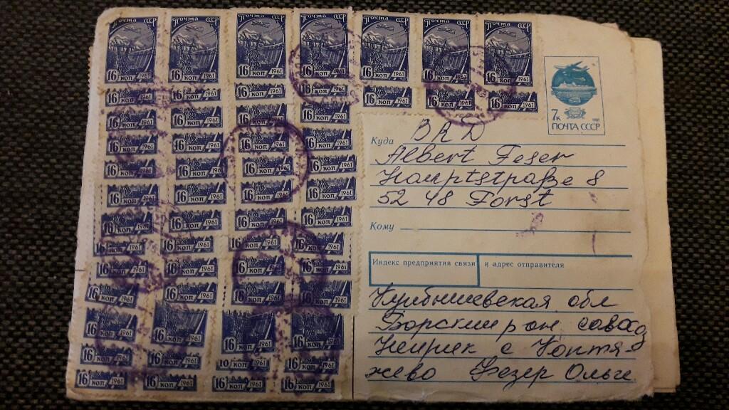 Brief aus Russland nach Deutschland Mischfrankatur 20181010