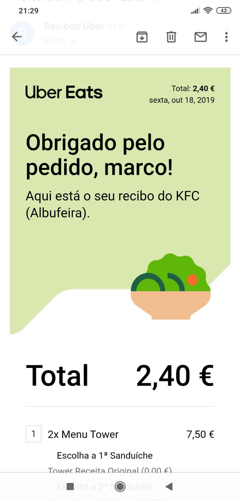 OPORTUNIDADE [Provado]  Receba 8€ UBER EATS totalmente gratis Whatsa12