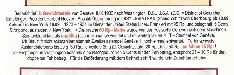 """Postgeschichte - Portodeklaration Bedarfsbrief befördert mit Schnellschiff SS"""" LEVIATHAN Scan-111"""