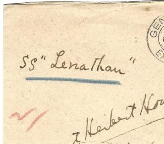 """Postgeschichte - Portodeklaration Bedarfsbrief befördert mit Schnellschiff SS"""" LEVIATHAN Scan0018"""
