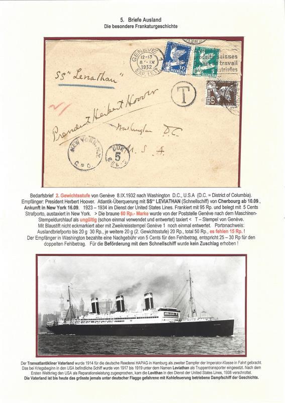 """Postgeschichte - Portodeklaration Bedarfsbrief befördert mit Schnellschiff SS"""" LEVIATHAN Scan18"""