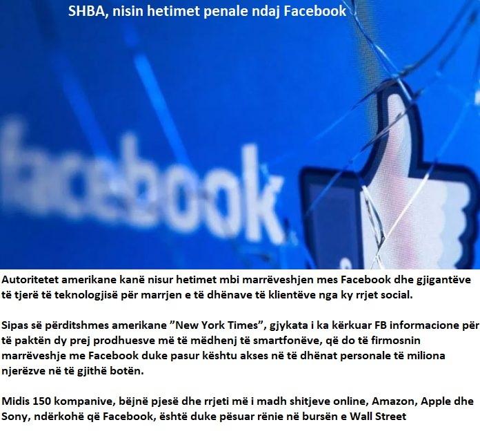 SHBA,nis hetimet penale ndaj Facebook 20190340