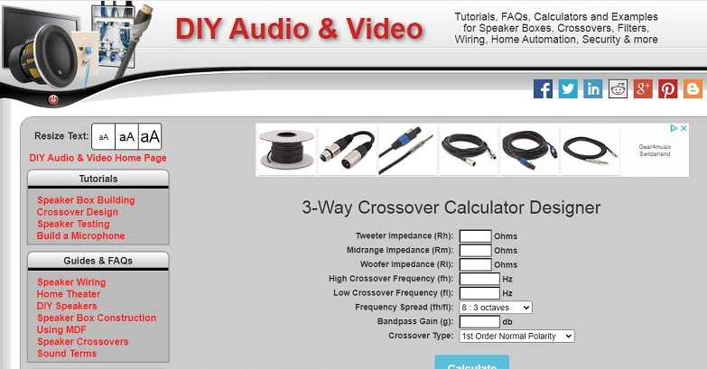 DIY Audio & Vidéo calculators A_d13