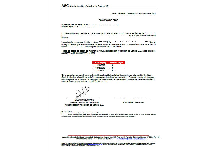 Verificacion de convenio de pago Conven11
