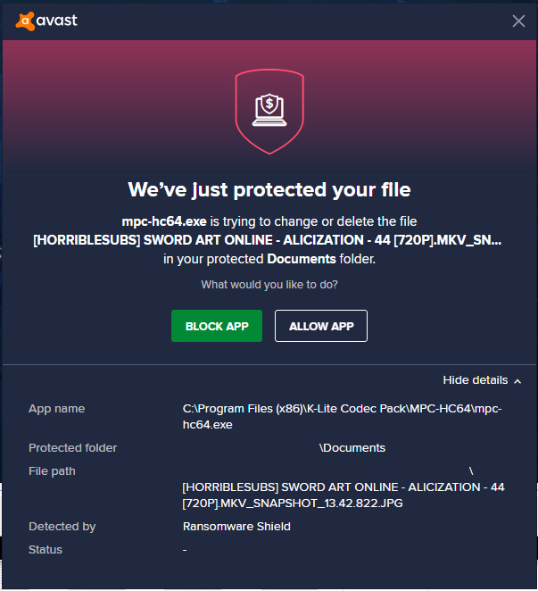 MPC-HC64 detected by Avast Ransomware Shield Captur10