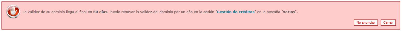 Notificación por e-mail: Expiración de dominio Captur18