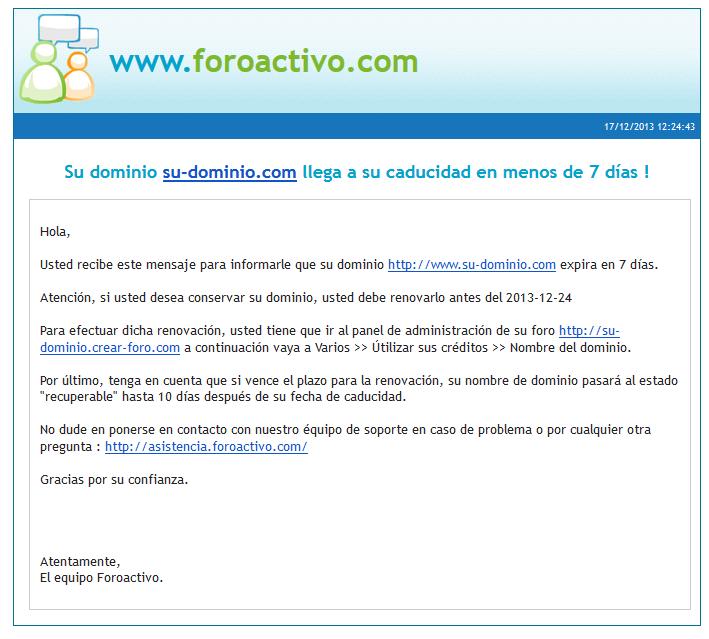 Notificación por e-mail: Expiración de dominio Captur19