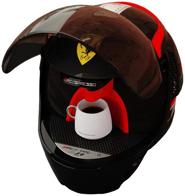 Racepresso : la machine à café casque Machin10