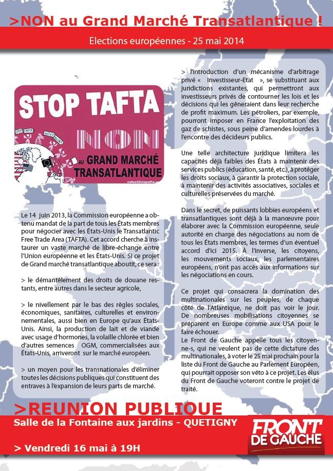 """Quetigny. 16 mai. Réunion publique : Non au Grand Marché Transatlantique ! (Front de Gauche) + Tafta : """" Si cet accord secret est mis en lumière par les médias, il disparaîtra """" (Le Miroir)  Quetig13"""