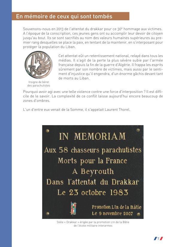 Préfet de la Somme: Hommage au caporal Laurent Thorel et à ses compagnons d'arme à l'occasion du 30ème anniversaire de l'attentat du Drakkar du 23 octobre 1983  Drakka67