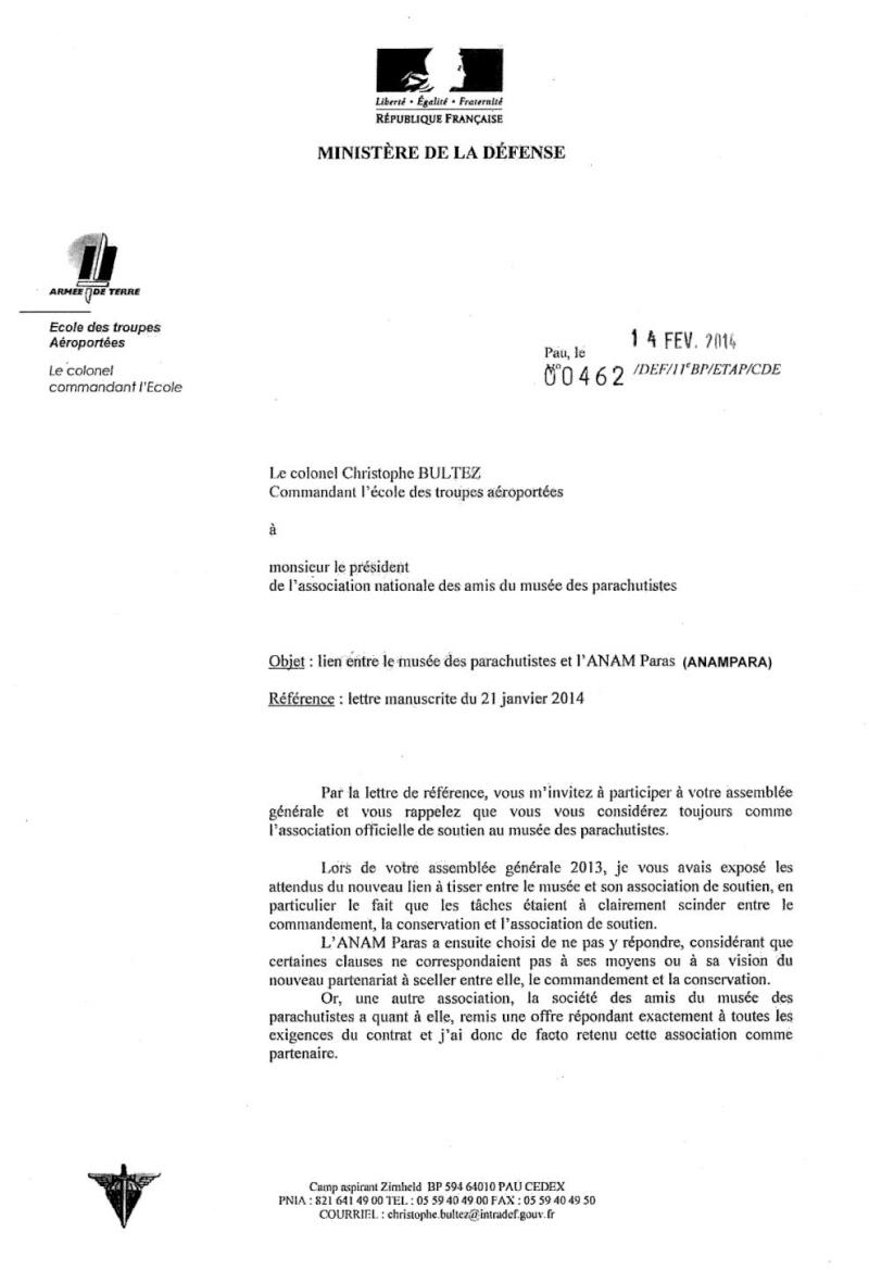 """Mise au point par le Commandant de l'ETAP dans la désignation de l'association de soutien au """"Musée des Parachutistes"""" Musee_10"""
