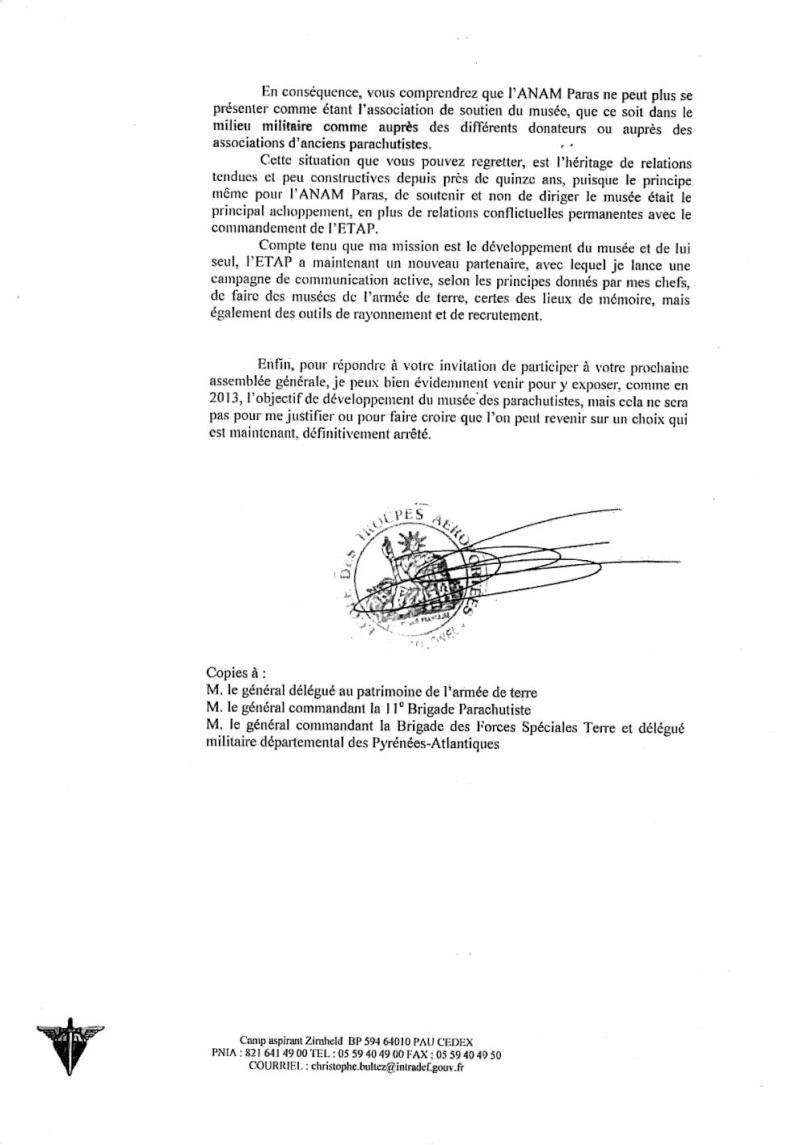 """Mise au point par le Commandant de l'ETAP dans la désignation de l'association de soutien au """"Musée des Parachutistes"""" Musee_11"""