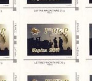 Planche de timbres achetée au foyer du 1er RCP, lors de la dissolution du bataillon RAPTOR Raptor14