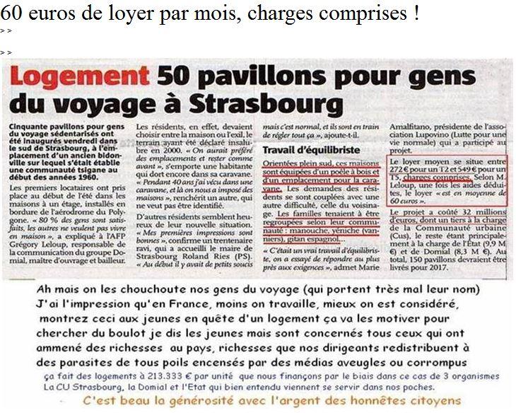 60 euros de loyer par mois, charges comprises payé par les gens du voyage sédentarisés à Strasbourg Rom10