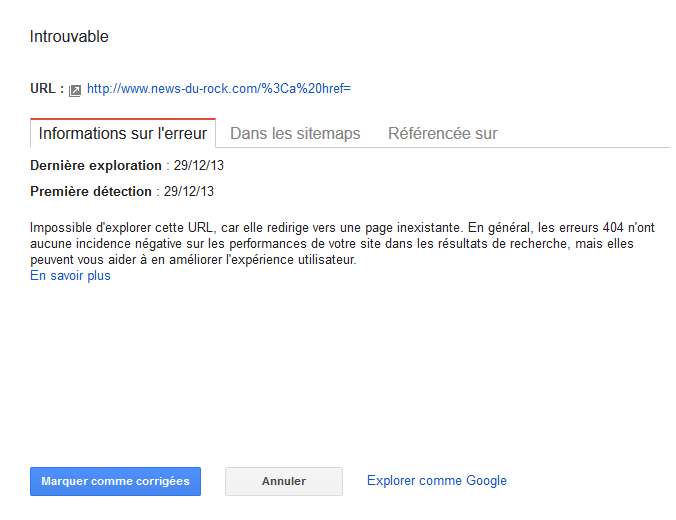 Erreur sur webmaster tools apres changement nom du domaine Captur13