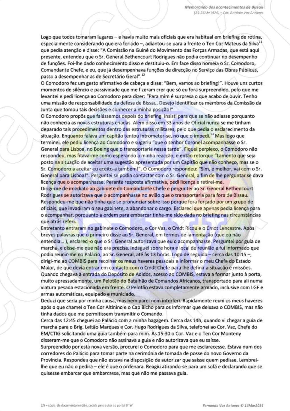 Cor António Vaz Antunes: Memorando dos acontecimentos de Bissau - entre 24 e 26 de Abril de 1974 2pagin10