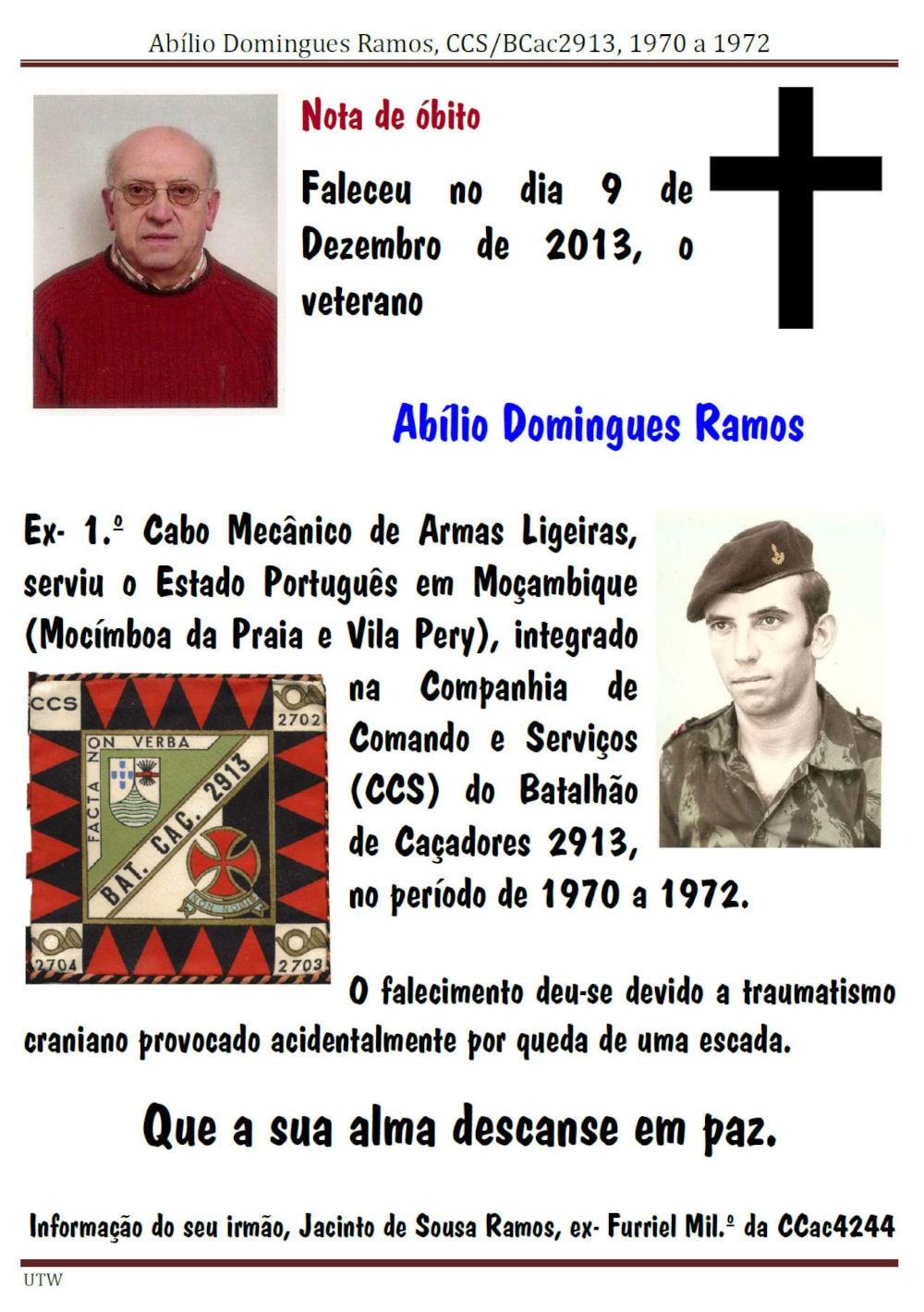 Faleceu o veterano Abílio Domingues Ramos, a CCS/BCac2913 - 09Dez2013  Abilio11