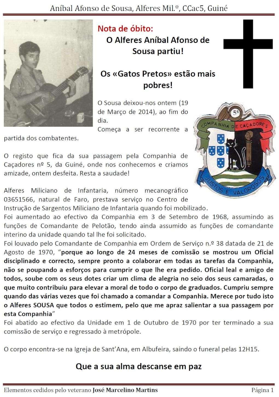 Faleceu o veterano Aníbal Afonso de Sousa, Alferes Mil.º, da CCac5 Guiné - 19Mar2014 Anabal10
