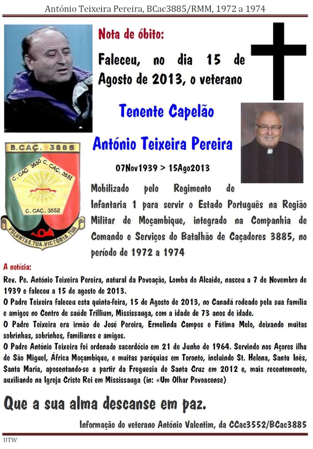 Faleceu o veterano António Teixeira Pereira, Tenente Capelão, da CCS/BCac3885 - 15Ago2013 Antoni11