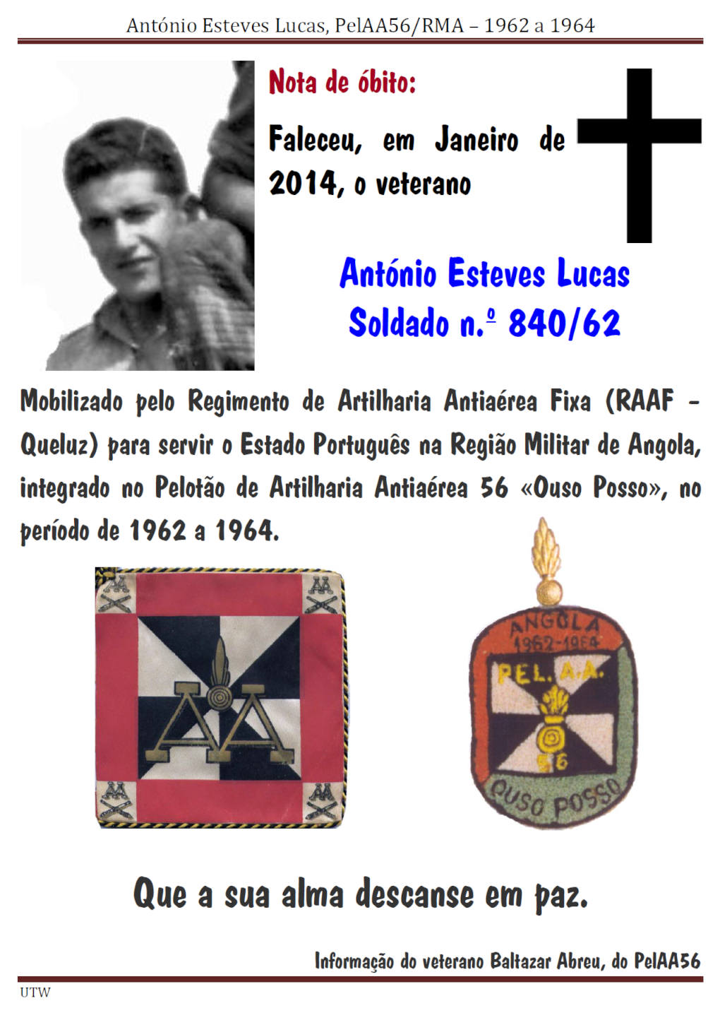 Faleceu o veterano António Esteves Lucas, do PelAA56 - Angola 1962 a 1964 -Jan2014 Antoni13
