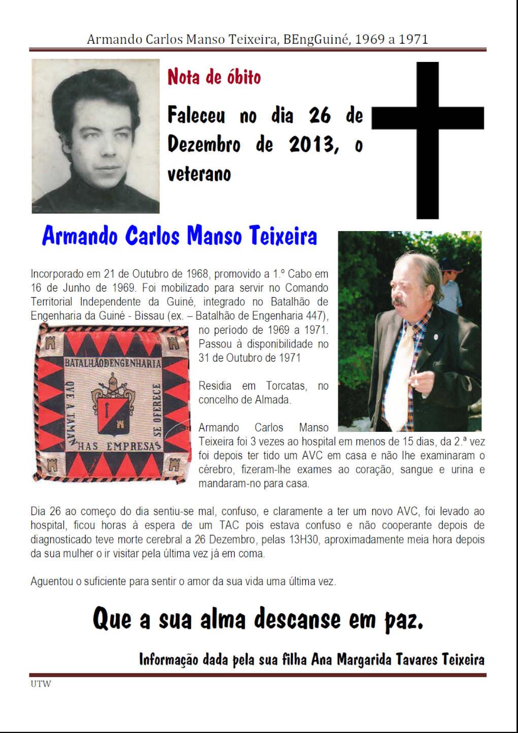 Faleceu o veterano Armando Carlos Manso Teixeira - BEngGuiné - 26Dez2013 Armand11